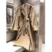 Winter-frauen klassische retro casual wolle mantel Horn schnalle lange elegante jacke hochwertige mantel Gefüttert mit kupfer ammoniak