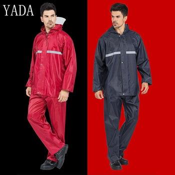 High Quality Men Rain Coat Reflective Strip Adult Raincoat Hiking Travel Waterproof Hooded Rain Coat Poncho Thickened RC200002