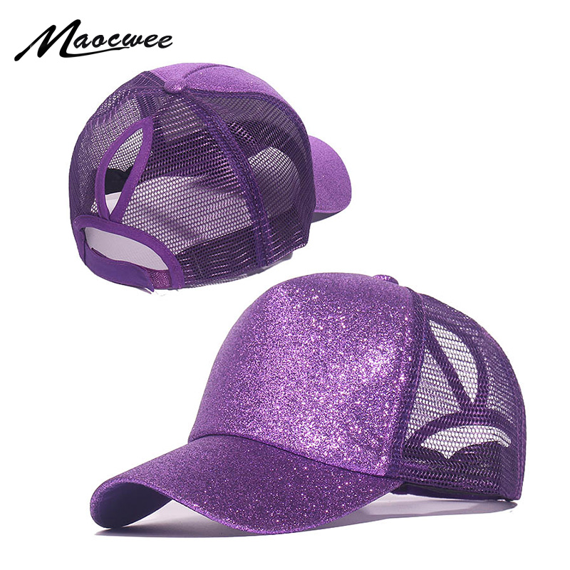 Fashion Baseball Caps Women Girl Ponytail Cap Sequins Shiny Messy Bun Snapback Hat Sun Caps Gorra Casual Ponytail Baseball Caps