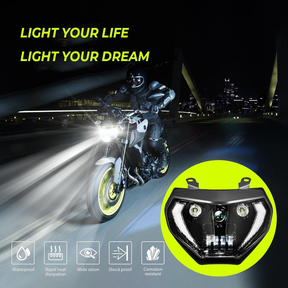 For YAMAHA MT09 Headlight 2014 2015 2016 MT 09 LED Lamp FZ09 FZ-09 MT-09 MT07 Motorcycle Headlight DRL For MT07 2018 2019 110W