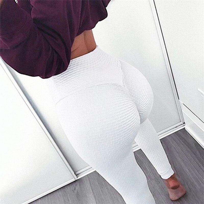 Pleated Leggings For Women Sporting Women Textured Workout Leggings Jacquard Weave Leggings Elastic Slim Pants