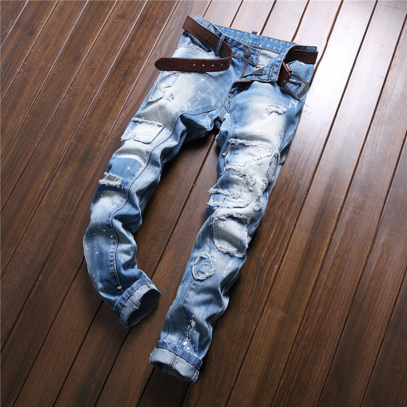 Spring New Style Western Style Tattered Paint Splattered Joint Men Slim Fit Jeans Pencil Pants Ripped Jeans Trend Men's Trousers