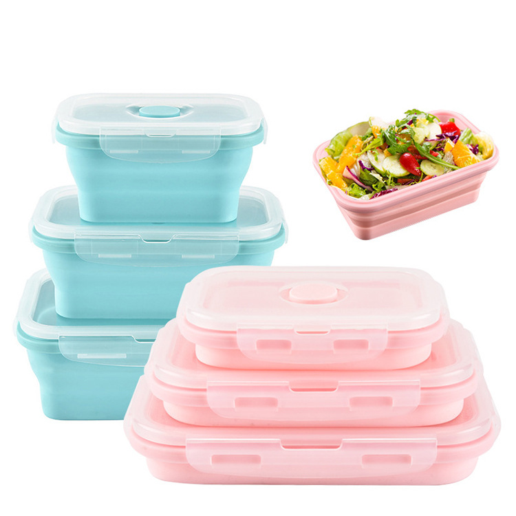 Silicone Foldable Container 3-Piece Set Square Sealed Freshness Box Student Lunch Box Wei Bo Lu He Lunch Box