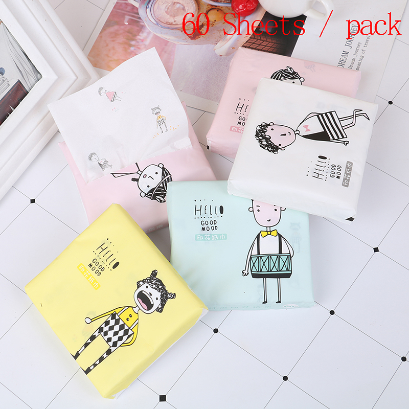 60Pcs/Pack Portable Sanitary Paper 3 Ply Disposable Facial Paper Tissues Thickened Cute Colorful Cartoon Printing Napkins Random