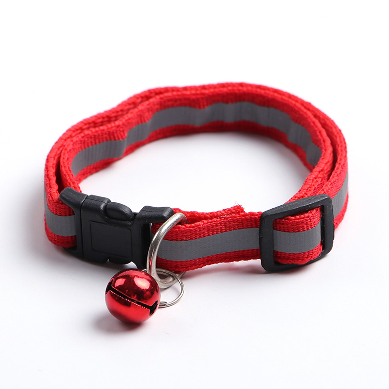 1.0 Pet Black Buckle Reflective Neck Ring Dog Applique Bell Neck Ring Cat Neck Ring