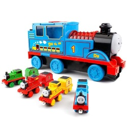 Vocal music pull back train alloy set track children inertia educational toys boys and girls glowing gifts