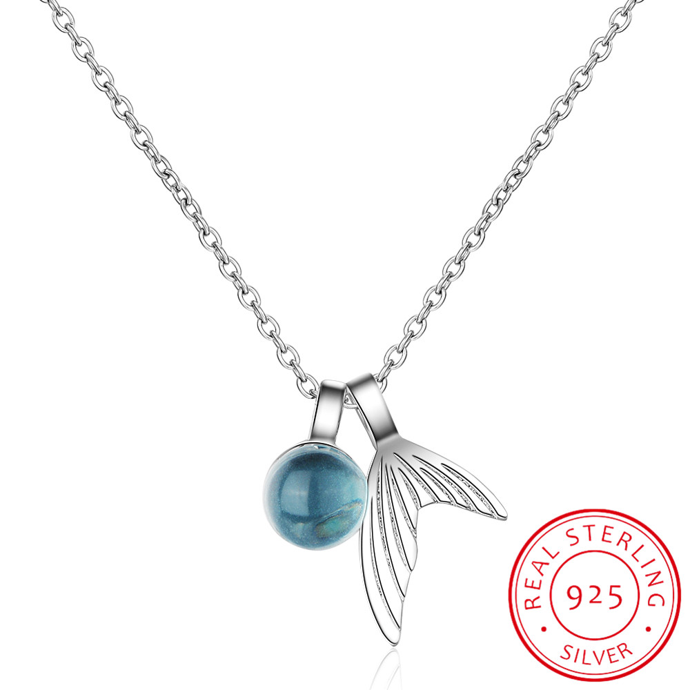 925 Sterling Silver Mermaid Pendant Necklace Blue Crystal Necklace collares choker kolye For Women Fine Jewelry New 2020