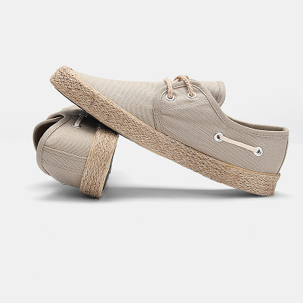 EPHER Mens Espadrilles Lace Up Low Tops Washed Canvas Hemp Sneakers Mens Footwear Eco Fabric Tourist Basic Shoes