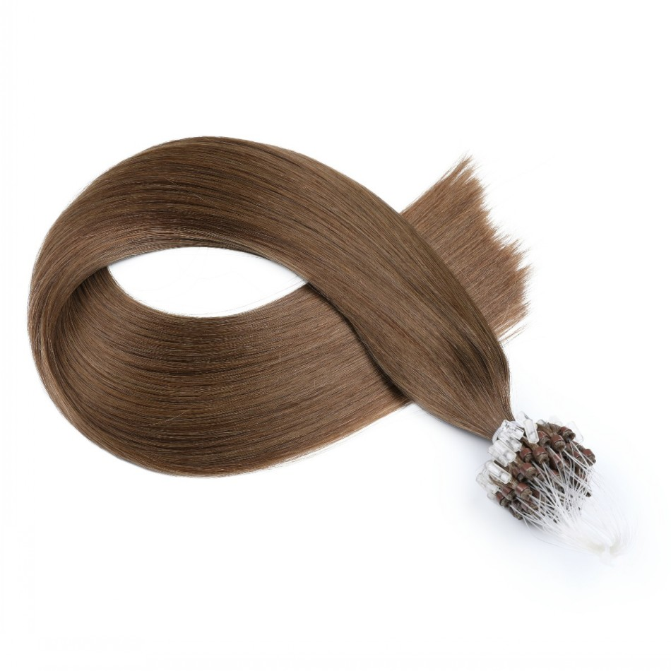 Double Drawn Micro Loops Hair Extensions Indian Remy Human Straight Hair Black Brown Blonde Micro Beads Hair Extension