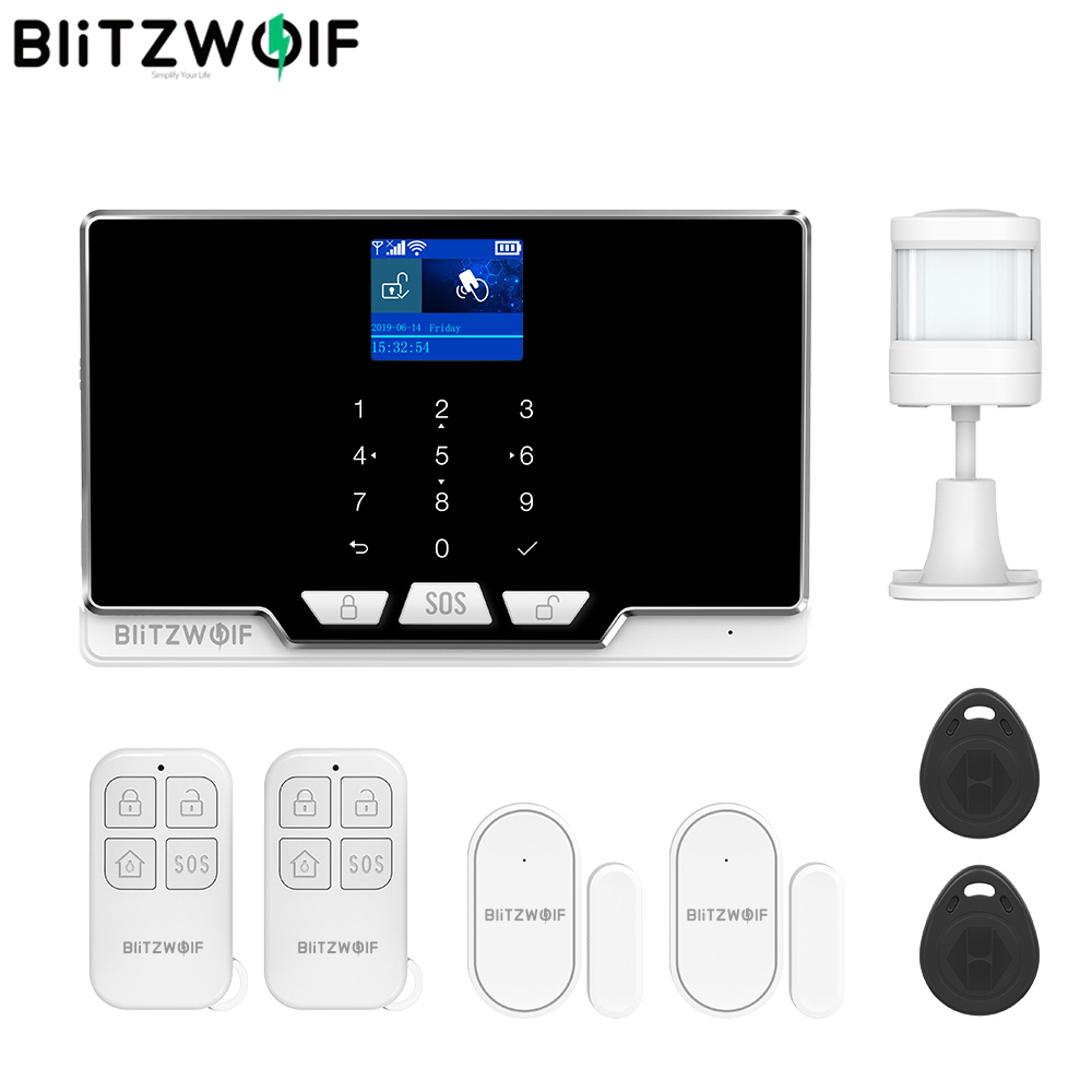 BlitzWolf Home Alarm 2G GSM & 433Mhz & WIFI Smart Home Security Alarm System Door & Window Sensor PIR Motion Detected RFID Host