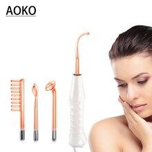AOKO Высокочастотный электрод, стеклянная трубка, палочка для угревой сыпи, уход за кожей, Электротерапия, аппарат для красоты лица, массаж, анти-акне, против морщин