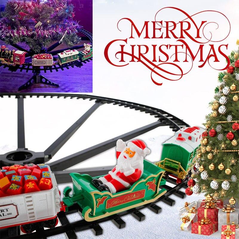 Рождественский поезд, электрические игрушки, украшение для рождественской елки, рамка для поезда, железнодорожный автомобиль со звуком све...