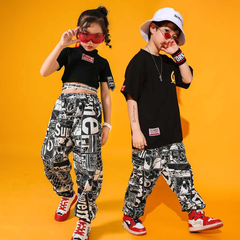 Mode Jazz Dance Kostuum Zwarte Hiphop Street Dance Rave Outfit Kinderen Stage Performance Kleding Printing Praktijk Slijtage DC2744