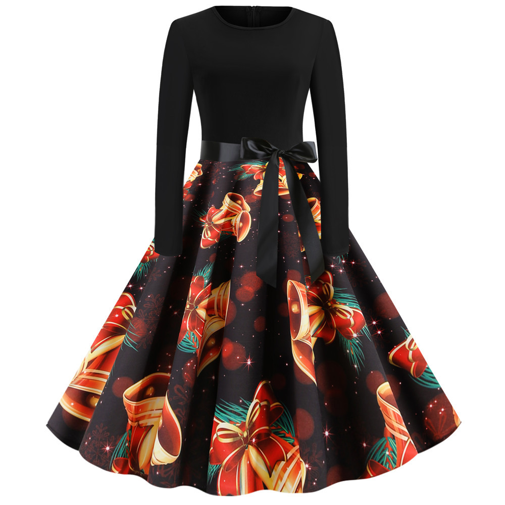 2020 Autumn Winter Elegant Christmas Dress Women O-neck Floral Print Robes Vintage Pin up Long Sleeve Midi Party Dresses Vestido