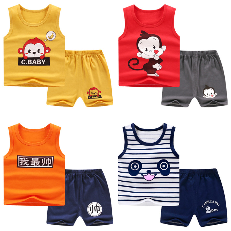 Baby Boy Casual Clothing Set Toddler Girls Kids Clothing Sets For Baby Kids Seveless T-shirts + Shorts Clothes Suit