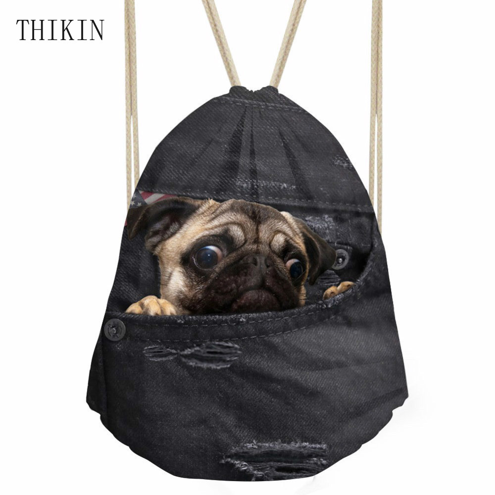 THIKIN Women Black Denim 3D Pug Dog Print Gym Bags Drawstring Backpack Men Outdoor Cute Animal Sport String Bags Unisex