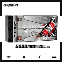 Gaoneng GNB 6000mAh 2S 7.6V HV 120C/240C Hardcase SHORTY LiPo Battery for RC HPI HSP 1/8 1/10 Buggy RC Car Truck Axial Scx10
