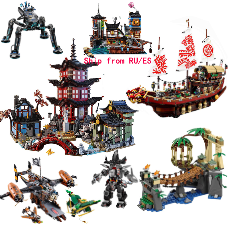 For Legoing Ninjagoed Movie Figures Destiny's Bounty Ship Compatible Ninja Temple Legoed City House Building Blocks Kid Toy Gift