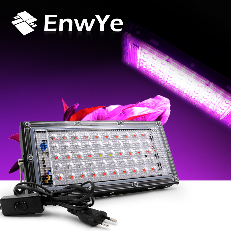EnwYe AC 220V Plant Growth Lamp 50W LED Plant Floodlight With EU Plug Greenhouse Plant Hydroponic Plant Spotlight