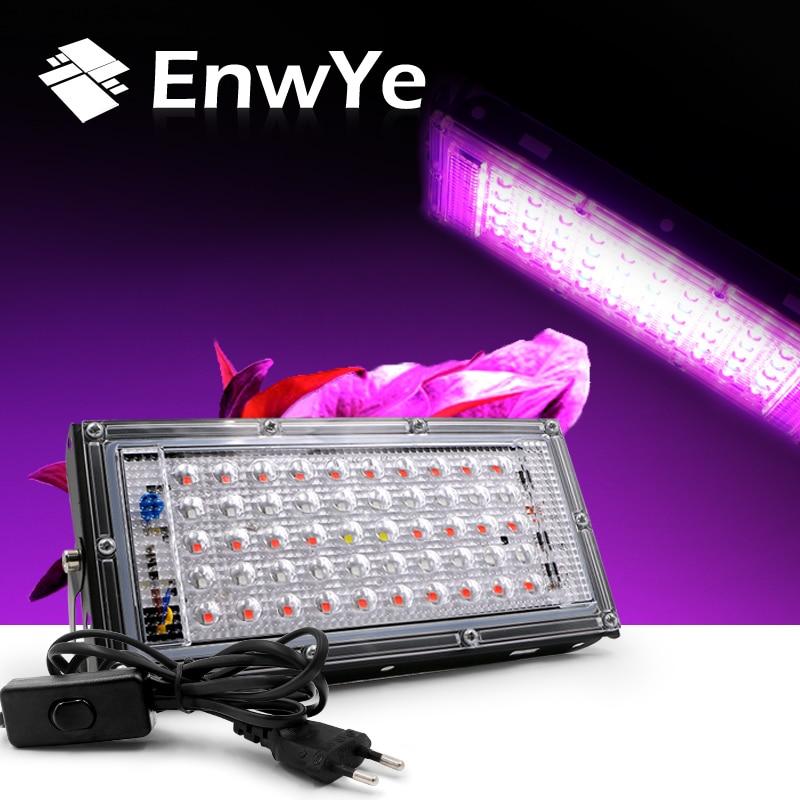 EnwYe AC 220V Plant Growth Lamp 50W LED Plant Floodlight With EU Plug Greenhouse Plant Hydroponic Plant Spotlight