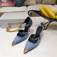 2020 New Satin Iron Toe Runway Dress Shoes Woman Genuine Leather Buckle Strap Slippers Women Metal Thin High Heels Women Pumps