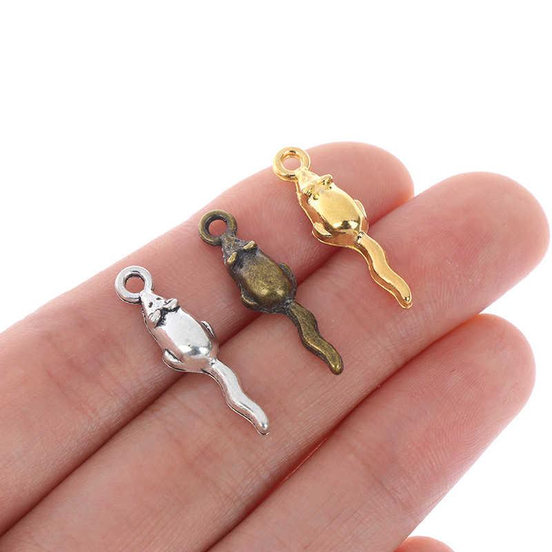 10pcs Piccolo Topo Rat Fascino Pendenti con gemme e perle Per La Collana Orecchini FAI DA TE Monili del Metallo Argento Antico Del Mouse Animale Del Pendente Della Lega all'ingrosso
