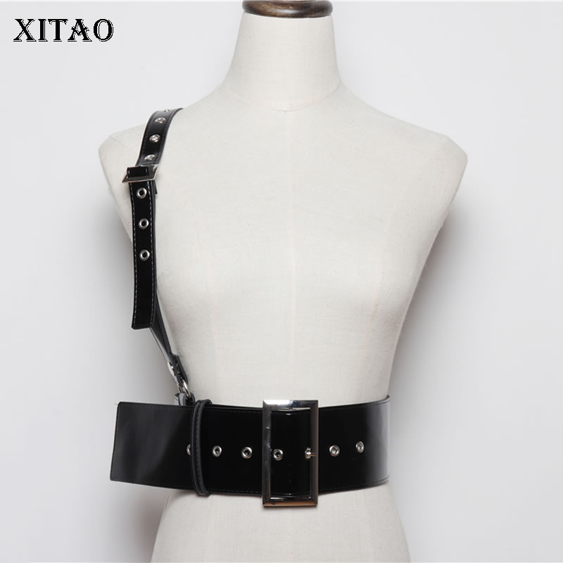 XITAO Fashion New Women Cummerbunds 2019 Autumn Concave Shape Single Shoulder Strap Elegant Style P U Cummerbunds  GCC1960