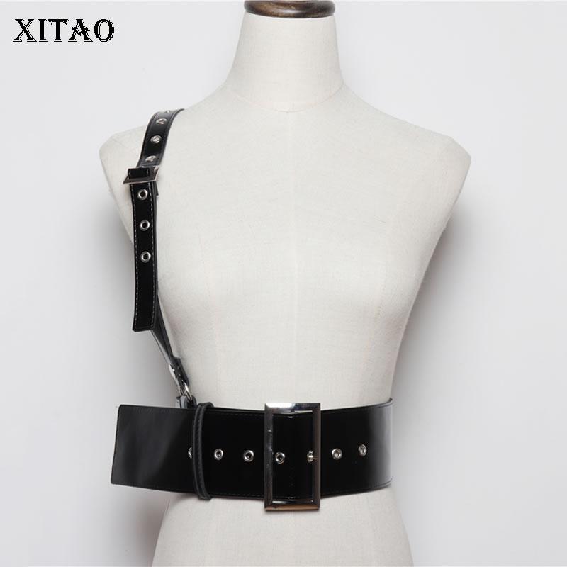 XITAO Fashion New Women Cummerbunds 2019 Autumn Concave Shape Single Shoulder Strap Elegant Style P U Cummerbunds  GCC1960