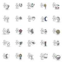 2019 neue Mode S925 Sterling Silber Notizen, Kirsche, Kaktus, Schmetterling, Blume, Bumblebee, Meteor, glück Hufeisen Stud Ohrring