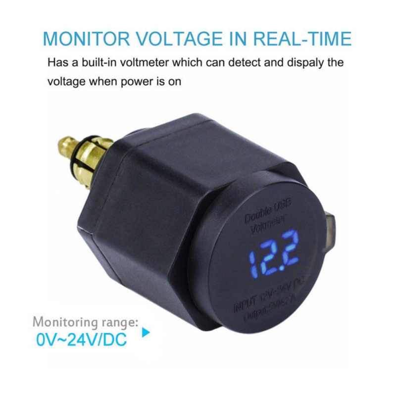 Waterproof Dual USB Charger Power Adapter LED Voltmeter <font><b>DIN</b></font> Plug Socket For <font><b>BMW</b></font> Triumph <font><b>Hella</b></font> Motorcycle image