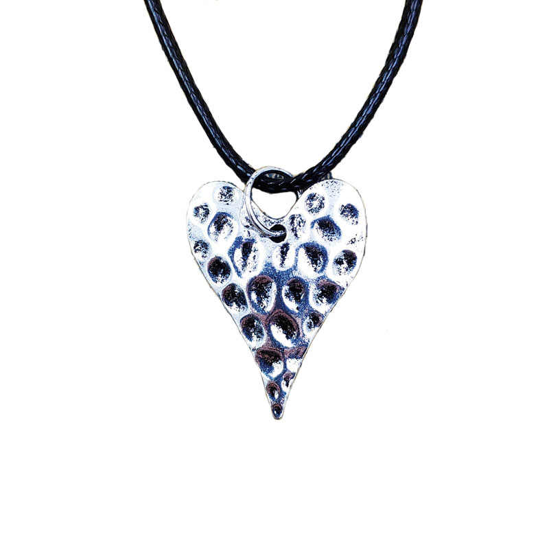 Heart Pendant Retro Long Necklace Metal Couple Love Style Concise Adjustable Waxed Rope Women Birthday Gift AH011-012 AH025-026