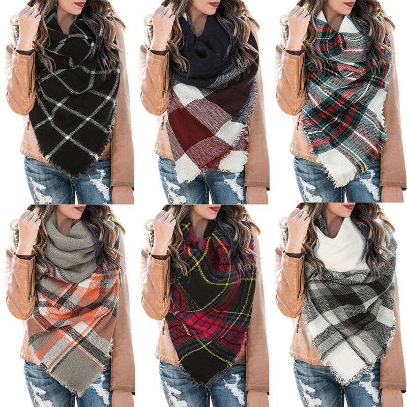 Women Blanket Oversized Tartan Scarf Wrap Shawl Plaid Cozy Checked Pashmina Lot Ladies Plaid   Scarves  Wraps