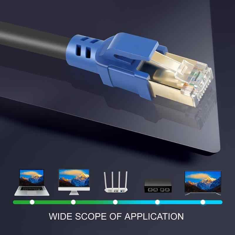 Cat8 Cable de Ethernet Cable chapado en oro de RJ45 a 8P8C 25/40 Gbps Cable de red Lan para el Router portátil 1 m/2 m/5 m/8 m/10 m/15 m/20 m/30 m