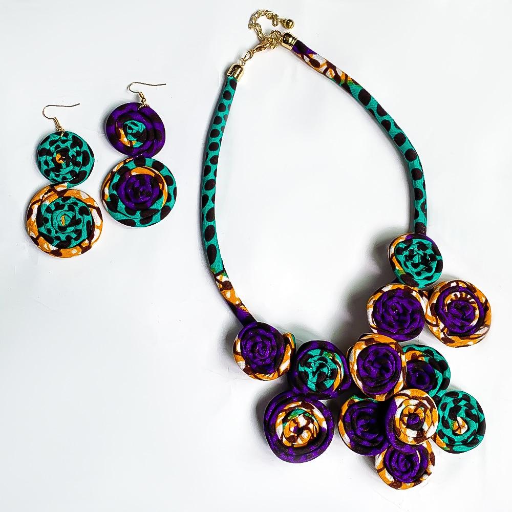 African Jewelry Set Ankara Print Handmade Accessories African Earring Necklace Set Cotton Material Jewellery African Accessories