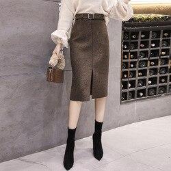 شق تنورة تنورة الربيع والخريف 2019 عالية الخصر منقوشة تنورة خطوة واحدة تنورة المرأة الأعمال ميدي تنورة الشتاء الصوفية تنورة قصيرة