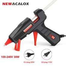 NEWACALOX Mini pistola de pegamento de fusión en caliente, herramienta de reparación por calor, 110V 240V, 30W/60W/100W