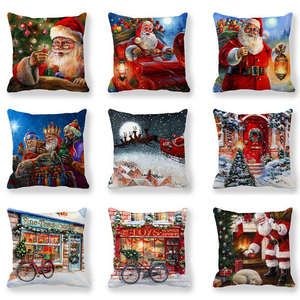 GZTZMY Happy New Year 2021 Merry Christmas Decorations for Home Color Cushion Cover 45x45cm Christmas Ornaments Navidad Natal