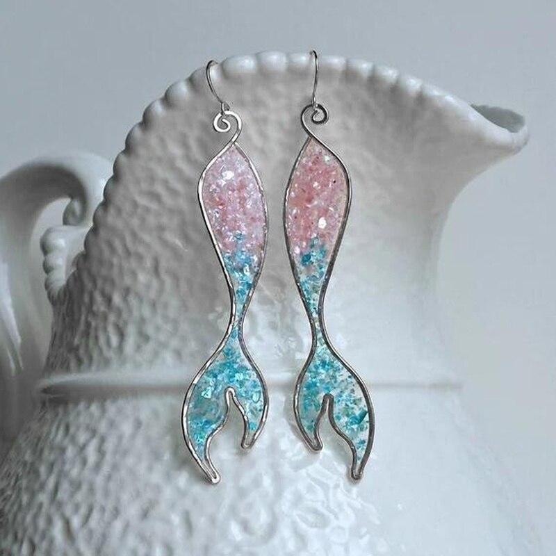 Milangirl Neue Trendy Bunte Gradienten Opal Drop Ohrringe Für Frauen Erklärung Schmuck Meerjungfrau Fishtail baumeln Ohrring