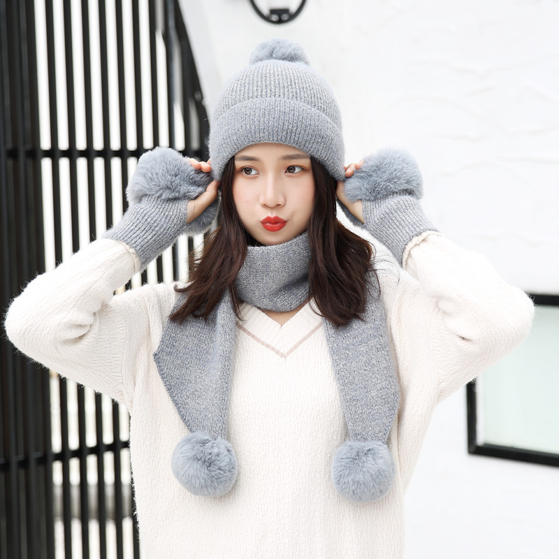 Winter Hat Scarf Gloves Set Women Warm Three Sets Women Men Plus Velvet Thickening Winter Hat Women Ball Caps Scarf Girls Wool