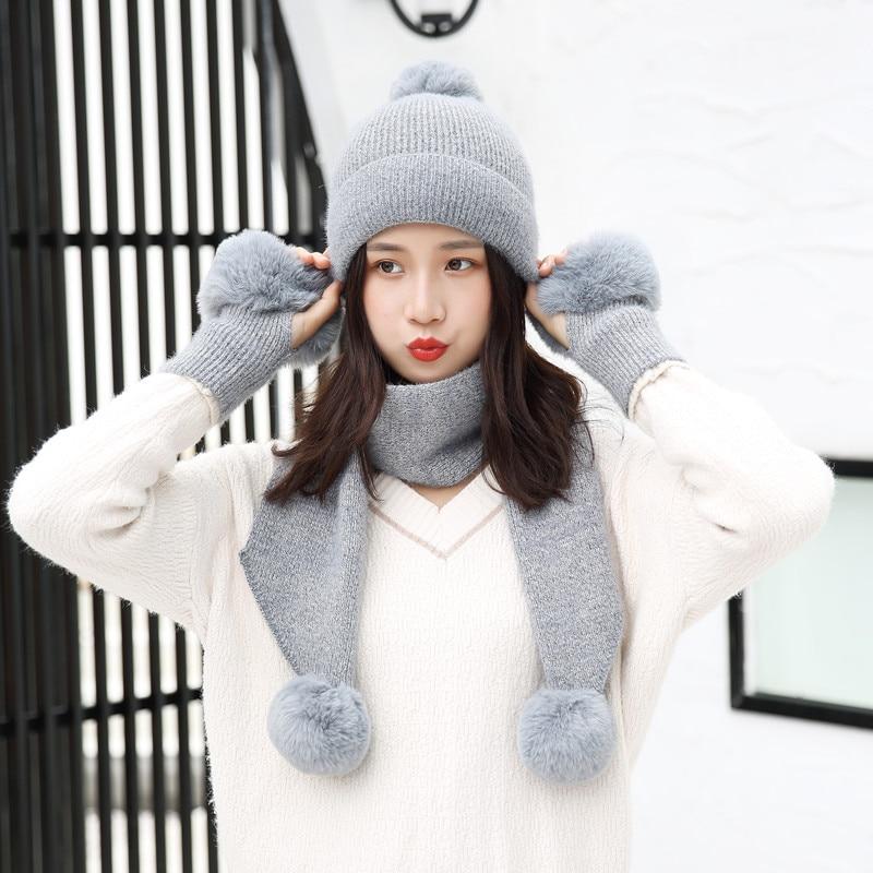 Winter Hat Scarf Gloves Set Women Warm Three Sets Women Men Plus Velvet Thickening Winter Hat Women Ball Caps Scarf Girls Wool