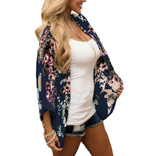 Retro Chiffon Cardigans Plus Size Thin Half Sleeve Loose Women Tops and Shirts Navy Flower Floral Print Open Stitch Long Blouses fashion 11 color female chiffon shirts women summer casual top plus size s 5xl loose long sleeve thin and light chiffon blouse