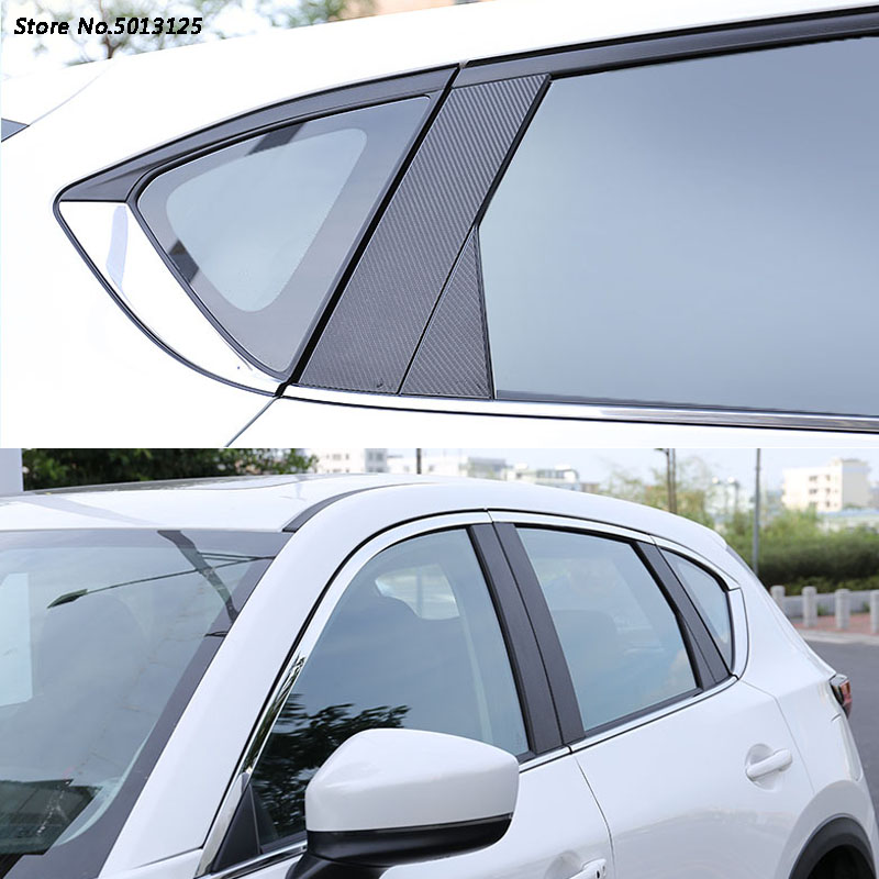 Car Door Window Middle Column Trim Decoration Protection strip Carbon Fiber Stickers <font><b>For</b></font> <font><b>Mazda</b></font> CX5 <font><b>CX</b></font>- <font><b>5</b></font> 2017 <font><b>2018</b></font> <font><b>2019</b></font> image