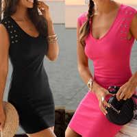 2019 vestido de verano para mujer Color sólido sin mangas vestido ajustado moda para playa noche fiesta vestidos de fiesta de noche h88