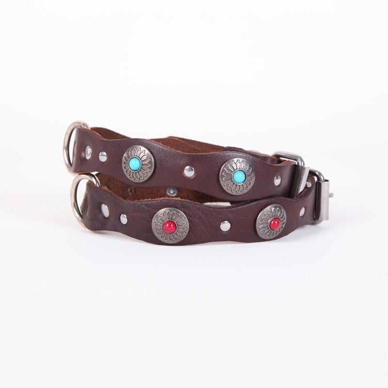 Cross Border Genuine Leather Dog Neck Ring And Medium-sized Dog Waveform Diamond Set Neck Ring Retro National Wind Bandana Pet D