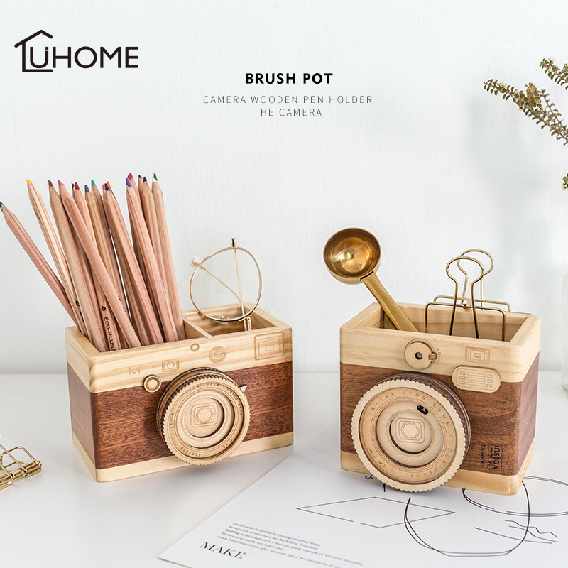 Creative Camera Music Box Wooden Pen Holder Make Up Brushes Organizer Wood Crafts Retro Birthday Gifts Vintage Home Decoration image
