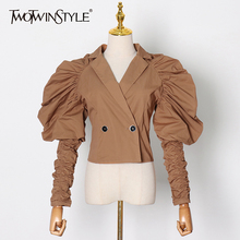 TWOTWINSTYLE Elegant Ruched Tunic Shirt For Women V Neck Puff Long Sleeve Casual Blouse