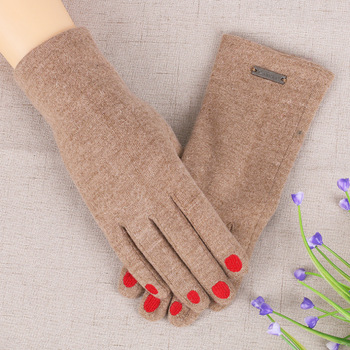 Women Winter Keep Warm Touch Screen Gloves Plus Velvet Inside Cashmere Blend Female Fake Nails Elegant Thin Gloves image