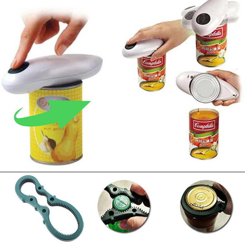 One Touch Automatic Electric Can Tin Bottle Opener /&Bottle Wrench No Hands Battery Operated
