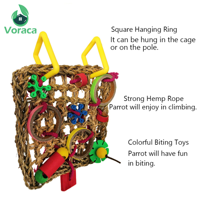 Bird Climbing Net Parrot Toys Woven Seagrass Biting Hanging Hemp Rope Swing Play Ladder Chew Foraging Colorful Funny Parrot Toys 2