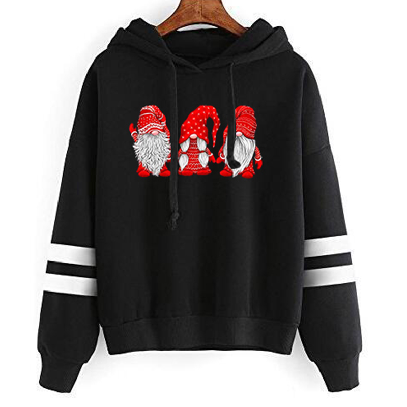Three Gnomes In Red Costume Christmas Hoodies Women Harajuku Womens Clothing Print Pullovers Casual Pink Sweatshirts Full